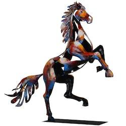 Objet déco salon cheval cabré métal peint