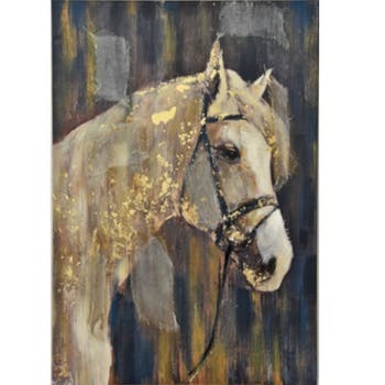Tableau animaux cheval blanc fond sombre feuilles or jute