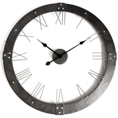 Horloge murale ronde en métal gris