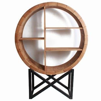 Etagère décorative ronde façon tonneau GALENA