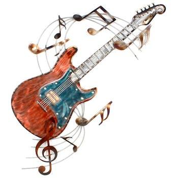 Décoration murale en métal guitare et partition