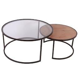 Table basse ronde gigogne bois verre métal CAIRNS (lot de 2)