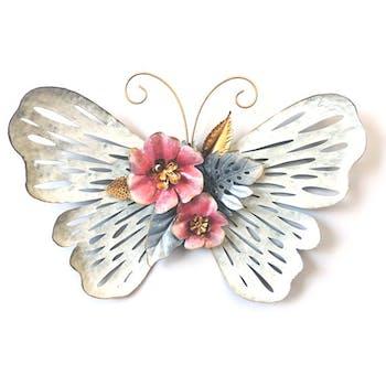Décoration murale en métal papillon et fleur