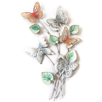 Décoration murale métal papillons sur bouquet
