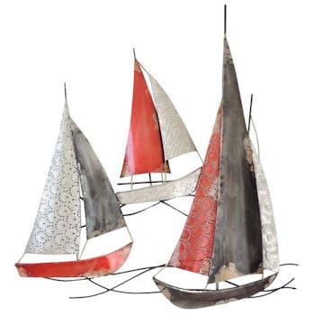 Décoration murale métal 3 bateaux rouges