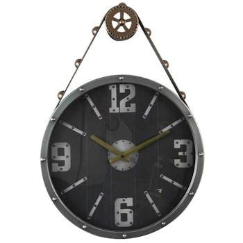 Horloge murale façon poulie noire