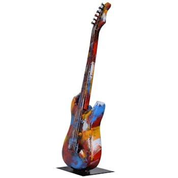 Objet déco salon guitare basse métal peint