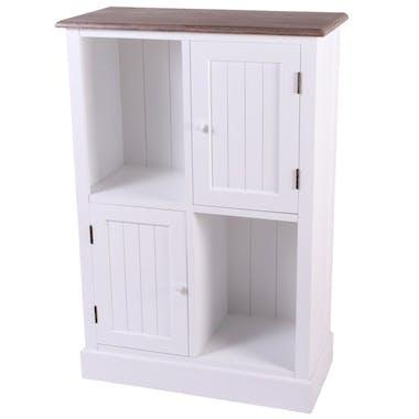 Meuble de rangement blanc bois 2 niches 2 portes ETRETAT