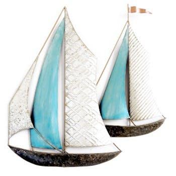 Décoration murale 2 bateaux blanc bleu
