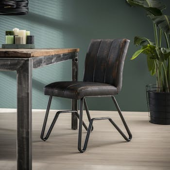 Chaise vintage délavé brun confort piètement pont MELBOURNE