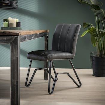 Chaise vintage délavé anthracite confort piètement pont MELBOURNE