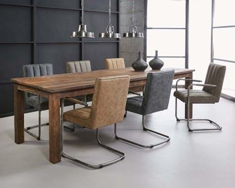 Fauteuil de table coutures verticales piètement luge brun MELBOURNE