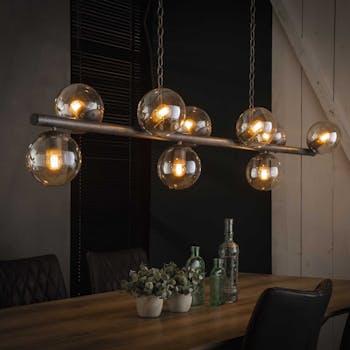 Suspension industrielle 9 lampes globes verre NIAGARA