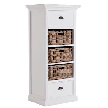 Chiffonnier blanc en bois 2 tiroirs 3 paniers ROYAN