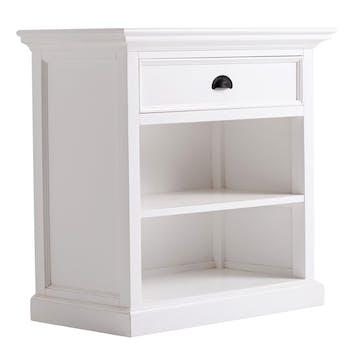 Table de nuit blanche en bois 1 tiroir 2 niches ROYAN