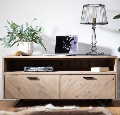 Meuble tv avec rangement bois recyclé VITTORIA
