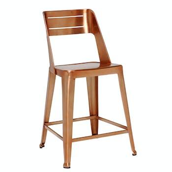 Chaise de bar design cuivre (lot de 2)