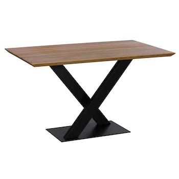 Table à manger rectangulaire bois métal 135 cm VOLGA