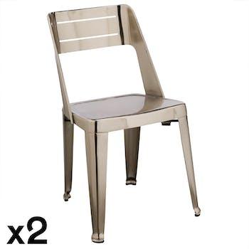 Chaise design chrome (lot de 2) HELSINKI