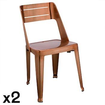 Chaise design cuivre (lot de 2) HELSINKI