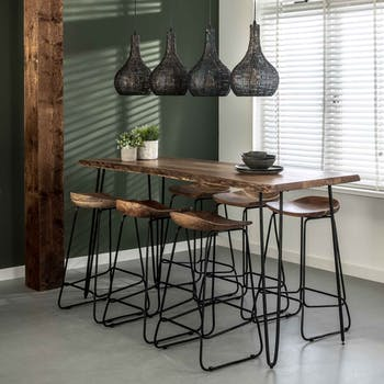 Table haute bois d'acacia massif métal 180 cm MELBOURNE