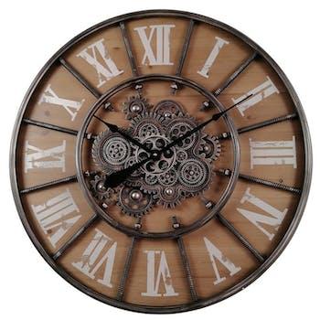 Horloge murale engrenages fond bois