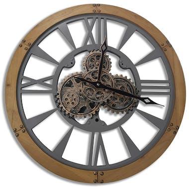 Horloge murale engrenages argent