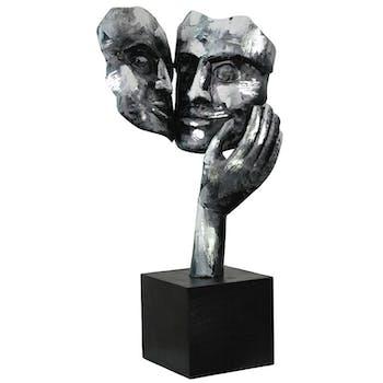 """Sculpture moderne """"Amore"""" argent socle noir"""