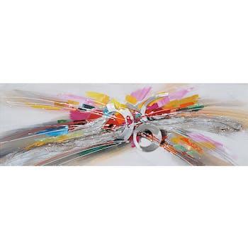 Tableau abstrait anneaux alu et couleurs 40x120