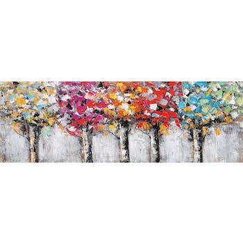 Tableau forêt arbres colorés 50x150