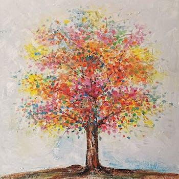 Tableau forêt arbre multicolore 60x60