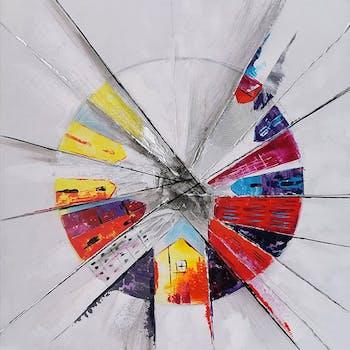 Tableau abstrait cercle éclaté 100x100