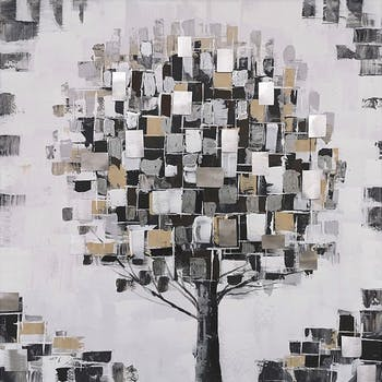 Tableau forêt arbre stylisé gris et blanc 80x80