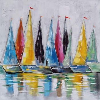 Tableau voiliers multicolores 100x100