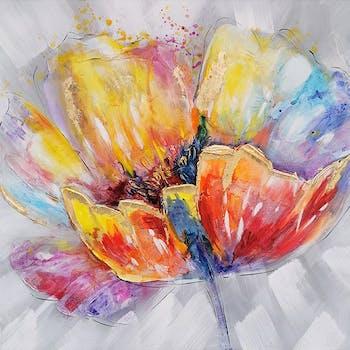 Tableau fleur multicolore gros plan 100x100