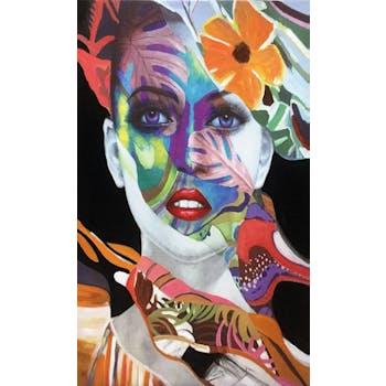 Tableau de femme visage fond noir 60x100