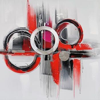 Tableau abstrait cercles alu rouge, gris, noir 80x80