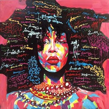 Tableau de femme africaine cheveux multicolores 100x100