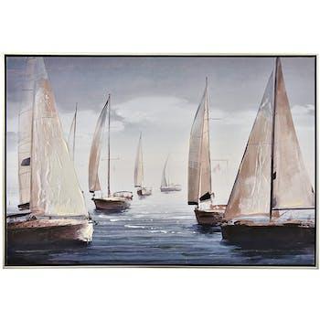 Tableau bateaux blanc et bleu, cadre argent 60x90