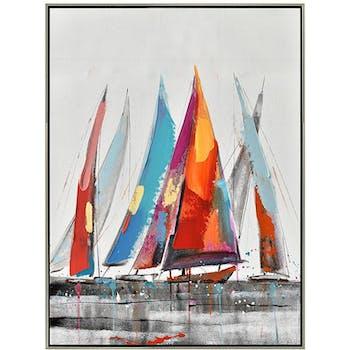Tableau bateaux multicolores cadre argent 80x60
