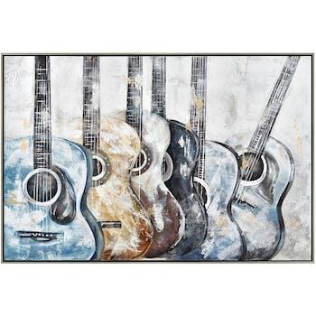 Tableau musique guitares colorées cadre argent 70x100