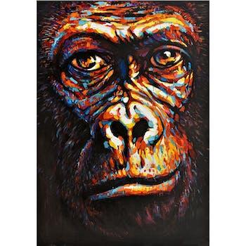 Tableau animaux visage gorille 100x70
