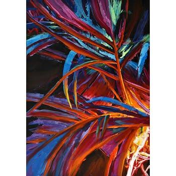 Tableau nature feuillage coloré fond noir 100x70