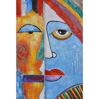 Tableau abstrait visage déstructuré profil 120x80