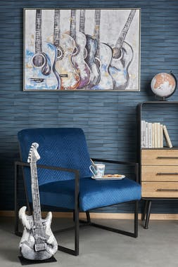 Fauteuil bleu en velours LEIPZIG