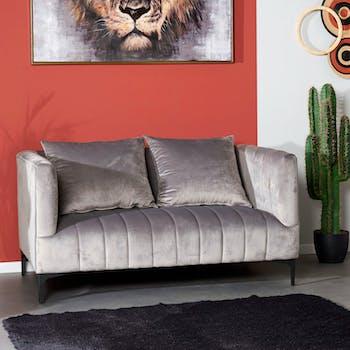 Canapé gris en velours LEIPZIG