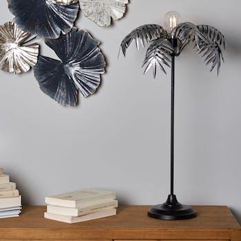 Lampe de chevet à pile palmier argent