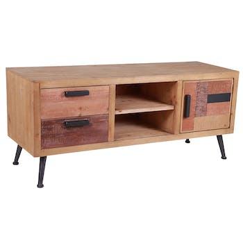 Petit meuble tv bois de sapin brut MALANG