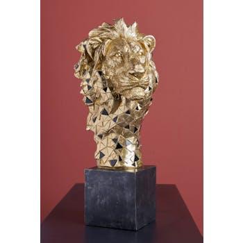 Sculpture moderne lion doré socle noir