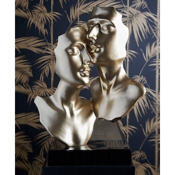 """Sculpture moderne """"Tenerezza"""" dorée socle noir"""